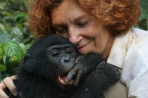 Claudine André and a young bonobo at Lola ya Bonobo sanctuary